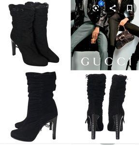 Shoes - GUCCI  Black Suede & Snake Skink Ruched High Heel.